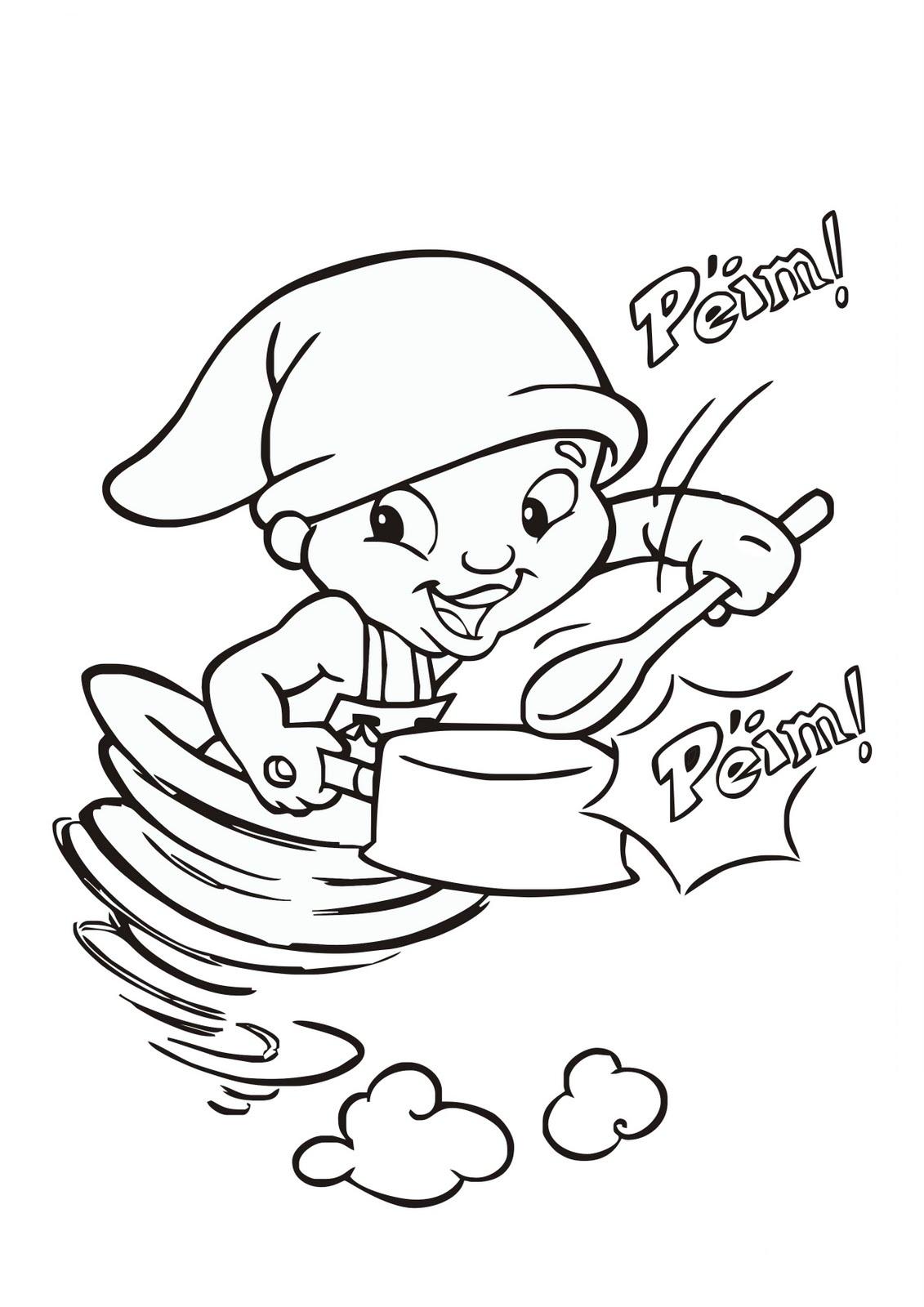 Desenho do Saci-Pererê batucando